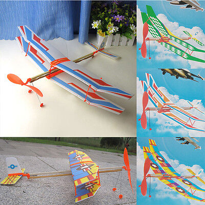 Rubber Band Elastic Powered Model Glider Flying Biplane Kids Funny Toy New