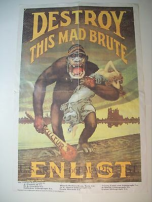 """Vintage Us Army Destroy This Mad Brute Poster Ww1 Era Reproduction 20"""" X 30"""""""
