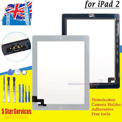 For Ipad 2 White Replacement Screen Touch Digitizer +Mid Frame Bezel&home Button