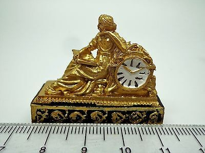 Golden Ormolu-Style  Clock Dolls House Miniature Accessory