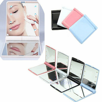 Cosmetic Makeup Folding Portable Compact Pocket Mirror with 8 LED Lights Lamps