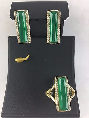 Turkish Made Jewelry 925 Sterling Silver Green Emerald Earrings & Ring Set