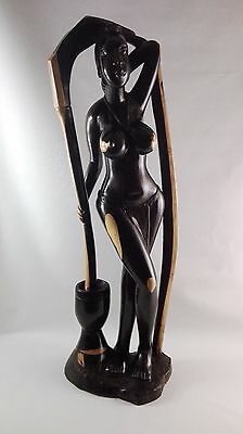 Ebony carved women statue from Congo