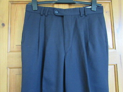 New navy 50s / northern soul twin pleated  turn  ups trousers  W 36 X L 31