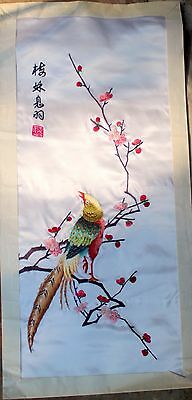 Framed & Signed Chinese Bird Silk Suzhou Embroidery  bbc095