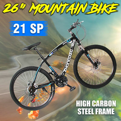 MTB Mountain Bike 26inch Shimano Gears 21-Speed Disc Brake Bicycle Black & Blue