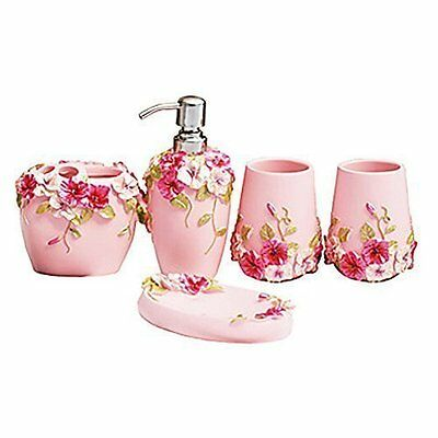 Fuloon Resin 5Pcs Bathroom Accessories Set Soap Dispenser/Toothbrush Dish Pink