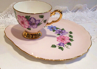 Tuscan Pink Tea cup and Tea Plate Flowers English vintage china tea party