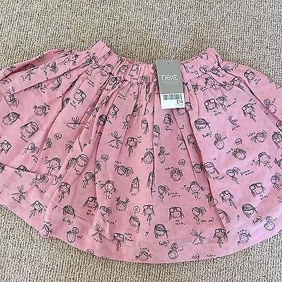 BNWT Girls Next Pink Skirt With People On 18-24months
