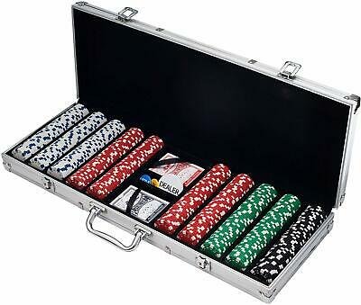 Professional Poker Chips Case 500 Set Texas Hold Em Cards Game Pack Chip Clay US