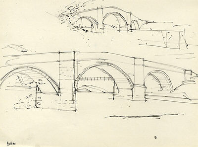 Paul Sharp - Mid 20th Century Pen and Ink Drawing, Barden Bridge