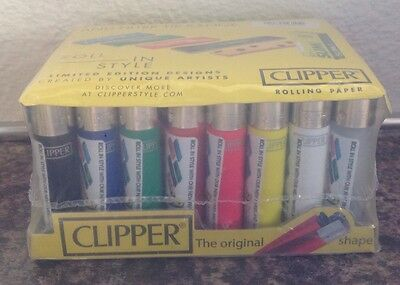 40 X Full Solid Colour  Sealed  CLIPPER LIGHTERS GAS REFILLABLE GENUINE CLIPPERS