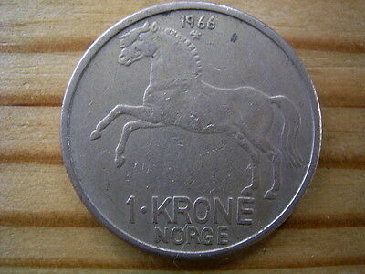 1966 Norway 1 krone coin collectable