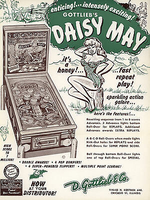 Novelty pinball item! Gottlieb's DAISY MAY  woodrail fridge magnet! Roy Parker!