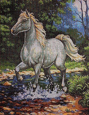 "Needlepoint Kit Gobelin Tapestry  ""white horse""embroidery  printed canvas 327"