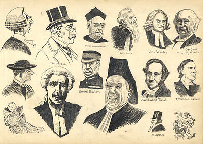 Late 19th Century Pen and Ink Drawing - Portraits of Prominent Men