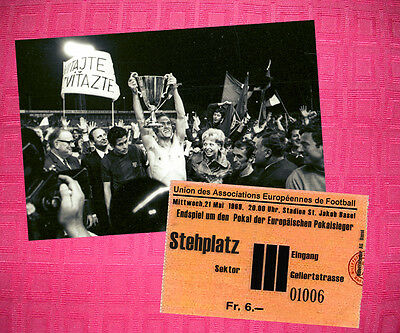 Slovan Bratislava 1969 Cup Winners Cup Photo + Ticket Horvath Vican