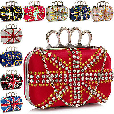 GIFT Boxed Women Knuckle Clutch Bag Bridal Union Jack Ladies Evening Party Prom
