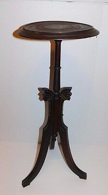 Antique 19thC Eastlake Victorian Walnut Mahogany Candle Plant Lamp Stand Table