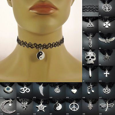 Tattoo Choker Stretch Necklace ladies womens girls jewellery accessory UK SELLER