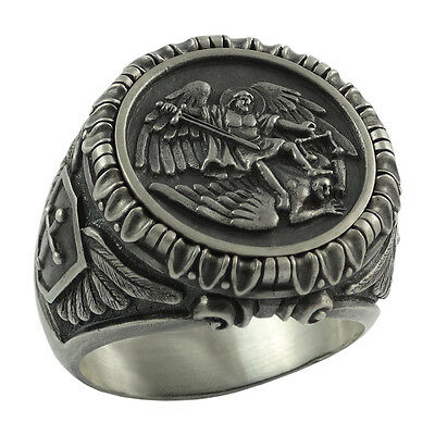 Saint St Michael Archangel Silver mens Ring Handcrafted US Sizes Army Military