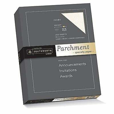 Southworth Parchment Specialty Paper, 8.5 x 11 inches, 32.lb, Ivory, 250 per Box