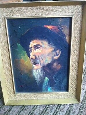 Oil Painting Of A Elderly Man In Gold Wooden Frame