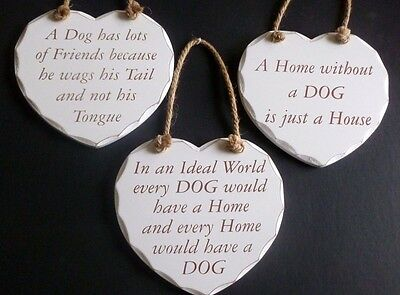 Heart Shaped Wooden Plaques with Different Dog Messages for Dog Lovers