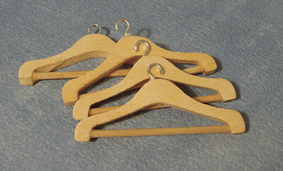 1:12th Wooden Coat Hangers (4) Dolls House Miniature Bedroom Clothing Accessory