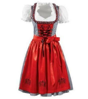 NEW Exclusive German Austrian  3 pc. Checked Dirndl + Red Apron  2-4