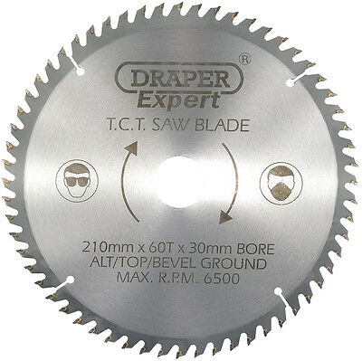 Draper 09478 Circular Mitre Saw Blade 210mm x 30mm x 60 Teeth 16mm Reducer incl