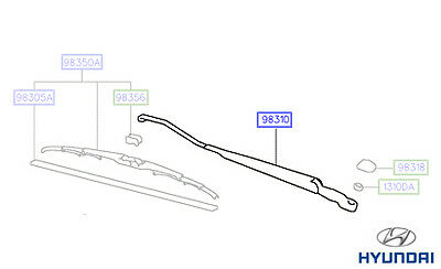 Genuine Hyundai Amica Windscreen Wiper Arm; Drivers - 9831002900