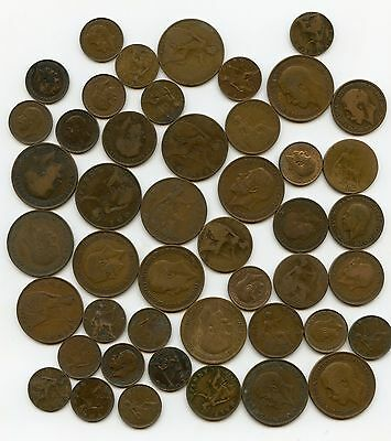 #282 Collection bulk lot 46 George V coins - no repeats various denominations