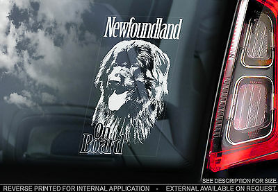 Newfoundland - Car Window Sticker - Newfie Dog on Board Sign Gift Giant Newf