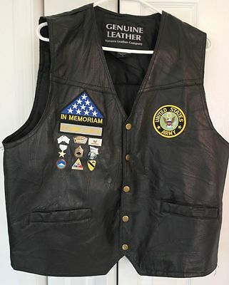Us Army Veteran Leather Motorcycle Vest W Korea Vet Pins & Patches Nice Size L