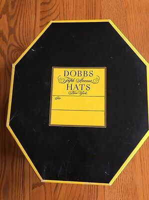 Vintage Men's Octagon Hat Box ONLY - DOBBS HATS FIFTH AVENUE NEW YORK