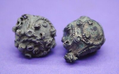 Pair of Medieval Byzantine bronze earrings 12th century AD