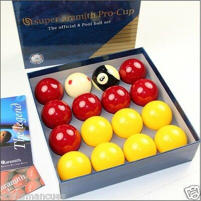 """Super Aramith Pro-cup 8 ball - pool ball set 2"""" with red dotted cue ball"""