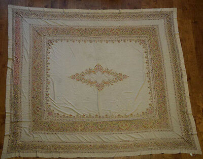 Antique Persian or Kashmir Very  Large Handmade Silk EMBROIDERY Table Cloth