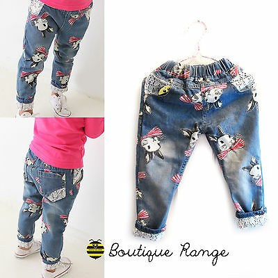 Girl Trousers Jeans with Elastic Waist Cute Bunny Denim with elegant Lace 2-7Y