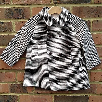Vintage 1960s Houndstooth Dogtooth Brown Cream Checked Traditional Coat 1-2 Y