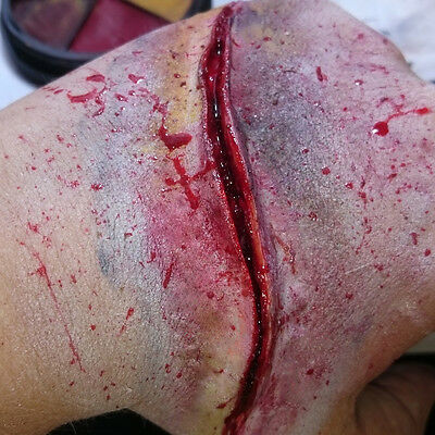 Slit cut slash stab wound! #1 Deep detailed latex fake scar UK costume Halloween