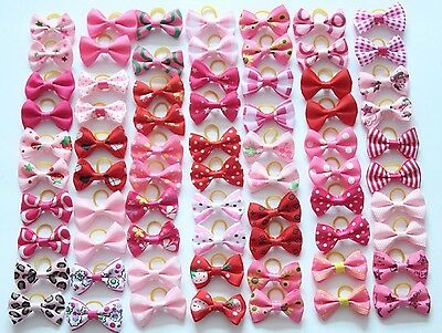 Females pink-red shades Pet Cat Dog Hair Bows Rubber Grooming Accessories Animal