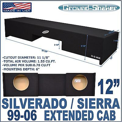 Chevy Silverado & Gmc Sierra Ext Extended Cab Sub Box Subwoofer Ground-Shaker