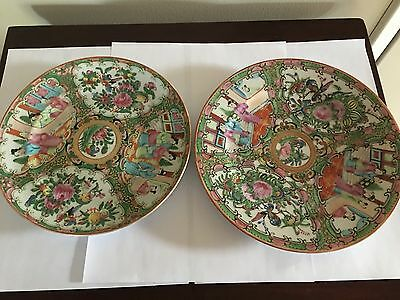 Vintage Chinese Export Rose Canton Porcelain Plates Set OF 2