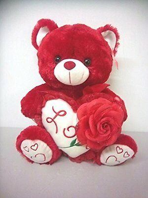 "Red  Valentine Day 15"" Plush Bear Saying ""i Love You Voice Holding Heart & Rose"
