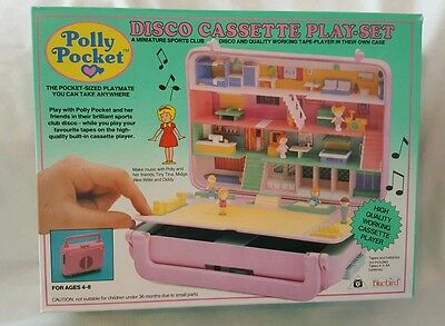 New Vintage polly pocket Bowling Alley  Disco Cassette Player  Play-Set NEW