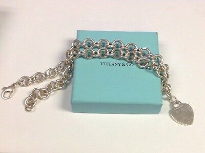 AUTHENTIC TIFFANY & Co. STERLING SILVER HEART LINK NECKLACE HEAVY