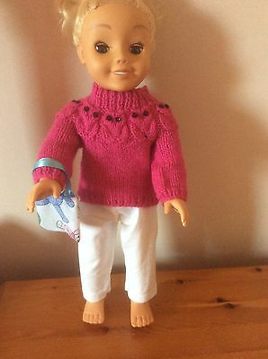 """DOLLS CLOTHES Handmade  Owl Jumper,Trousers,bag For CAYLA,18""""doll"""