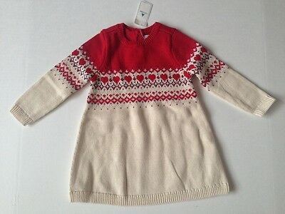 Baby GAP Girls Red Fair Isle Yoke Heart Sweater Dress NWT 12-18 ...